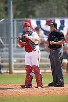 Indiana Hoosiers catcher Ryan Fineman (29) and umpire Mike Savakinas during a game against the Seton Hall Pirates on March 5, 2016 at North Charlotte Regional Park in Port Charlotte, Florida.  Seton Hall defeated Indiana 6-4.  (Mike Janes/Four Seam Images)