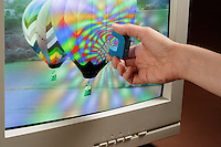 DISTORTION OF CRT SCREEN BY A HORSESHOE MAGNET<br />