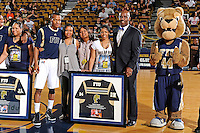 25 February 2012:  FIU guard DeJuan Wright (14) is honored during a pre-game ceremony before playing his final game at FIU.  The FIU Golden Panthers defeated the University of South Alabama Jaguars, 81-74, at the U.S. Century Bank Arena in Miami, Florida.