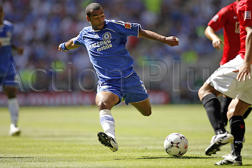 5 August 2007: Chelsea defender Ashley Cole shoots during The FA Community Shield played between Chelsea and Man Utd at Wembley Stadium. The game finished 1-1, with Man Utd winning the penalty shoot-out 3-0. Photo: Glyn Kirk/Actionplus....070805 football soccer player