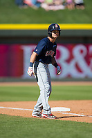 Andrew Benintendi (16) of the Salem Red Sox takes his lead off of third base against the Winston-Salem Dash at BB&T Ballpark on April 17, 2016 in Winston-Salem, North Carolina.  The Red Sox defeated the Dash 3-1.  (Brian Westerholt/Four Seam Images)