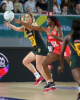 04.09.2016 England's Ama Agbeze and South Africa's Lenzie Potgieter in action during the Netball Quad Series match between England and South Africa played at Margaret Court Arena in Melbourne. Mandatory Photo Credit ©Michael Bradley.
