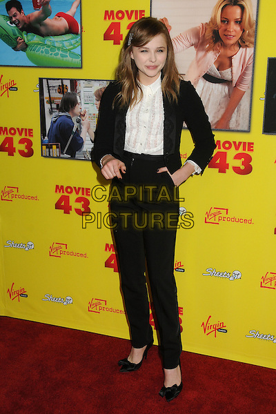 "Chloe Moretz.""Movie 43"" Los Angeles Premiere held at Grauman's Chinese Theatre, Hollywood, California, USA..January 23rd, 2013.full length top blazer black white trousers blouse hand in pocket .CAP/ADM/BP.©Byron Purvis/AdMedia/Capital Pictures."