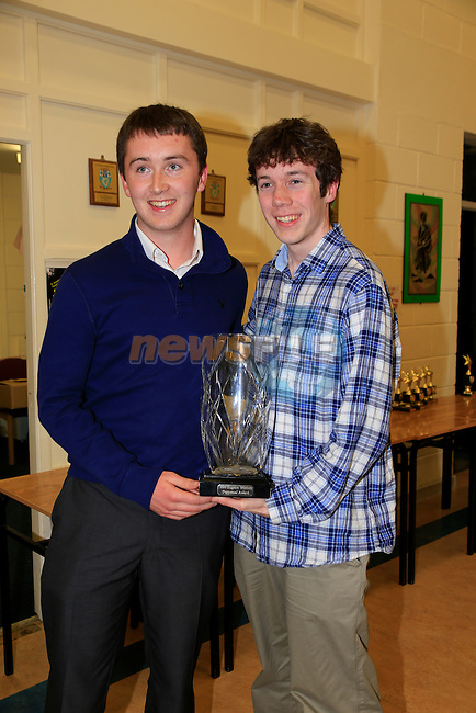 Philip Clarke presenting Kevin Duffy with his award at the St Marys State Exam Awards Ceremony.<br /> Picture: www.newsfile.ie
