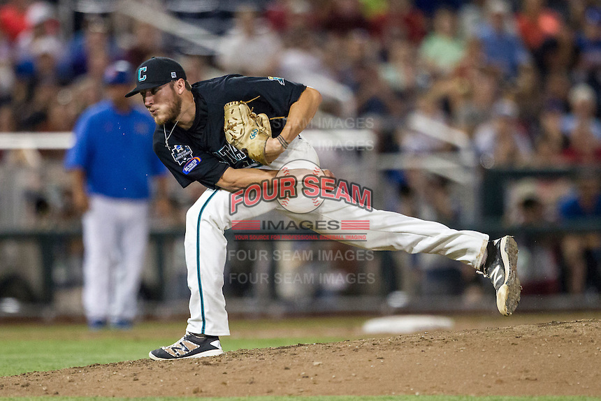 Coastal Carolina Chanticleers pitcher Andrew Beckwith (41) follows through on a pitch to the plate against the Florida Gators in Game 4 of the NCAA College World Series on June 19, 2016 at TD Ameritrade Park in Omaha, Nebraska. Coastal Carolina defeated Florida 2-1. (Andrew Woolley/Four Seam Images)