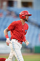 Clearwater Threshers right fielder Jose Pujols (23) runs to first base during a game against the Jupiter Hammerheads on April 9, 2018 at Spectrum Field in Clearwater, Florida.  Jupiter defeated Clearwater 9-4.  (Mike Janes/Four Seam Images)