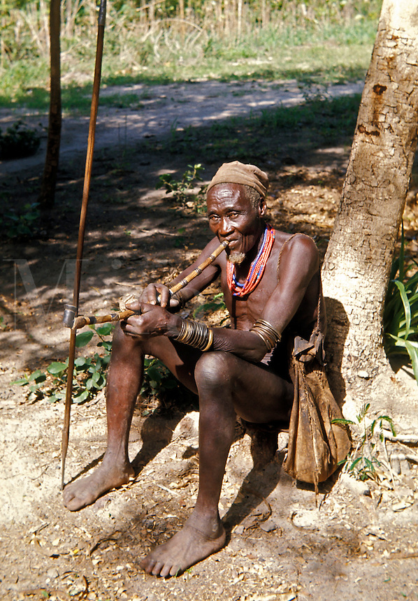 Ngambay man smoking pipe, Chad, Africa