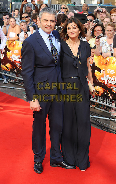 Rowan Atkinson & Sunetra Sastry.'Johnny English Reborn' UK Premiere at Empire Leicester Square, London, England..2nd October 2011.full length dress married husband wife black blue suit shirt .CAP/BEL.©Tom Belcher/Capital Pictures.