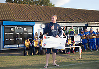 Simon Harmer 'not really dressed to make a speech' as he put it, provides some words at the conclusion of the benefit fixture between Upminster CC vs Essex CCC, Benefit Match Cricket at Upminster Park on 8th September 2019