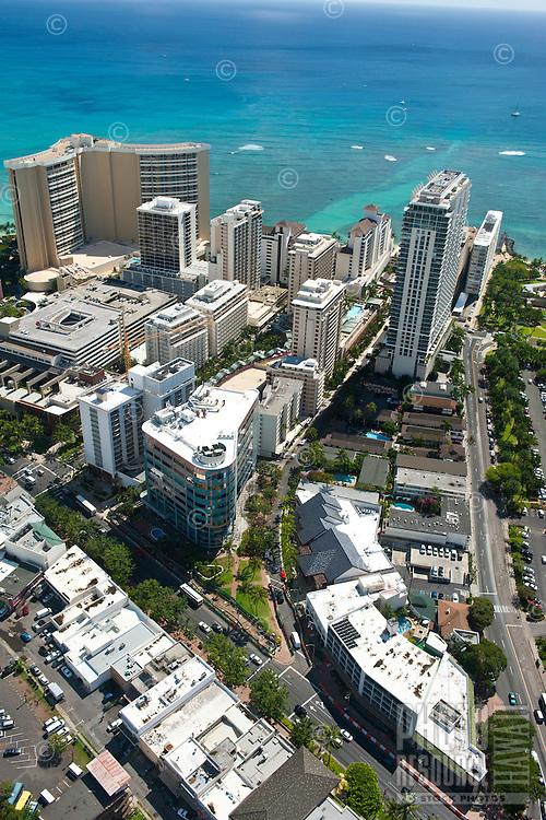 Aerial detail of Waikiki showing the Trump Tower, Sheraton Waikiki and Kalakaua Ave