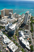 Aerial detail of Waikiki showing the Trump Tower, Sheraton Waikiki and Kalakaua Ave