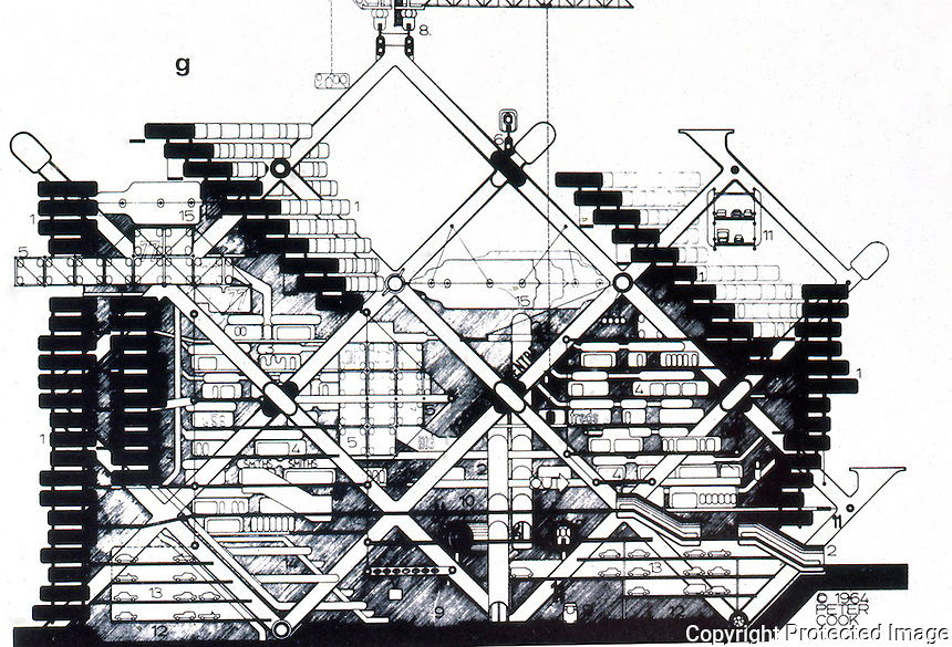 "Archigram:  Plug-in City, section, 1964.  ""These units are planned for obsolescence.""  Photo '77."
