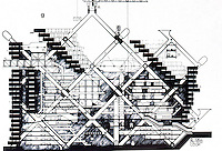 """Archigram:  Plug-in City, section, 1964.  """"These units are planned for obsolescence.""""  Photo '77."""