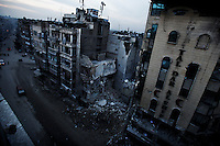 The rubble that was the iconic Al-Darshifa hospital in the Sha'ar neighborhood of Aleppo.