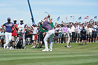 Dustin Johnson (USA) tees off on the first hole during the third round of the 118th U.S. Open Championship at Shinnecock Hills Golf Club in Southampton, NY, USA. 16th June 2018.<br /> Picture: Golffile | Brian Spurlock<br /> <br /> <br /> All photo usage must carry mandatory copyright credit (&copy; Golffile | Brian Spurlock)