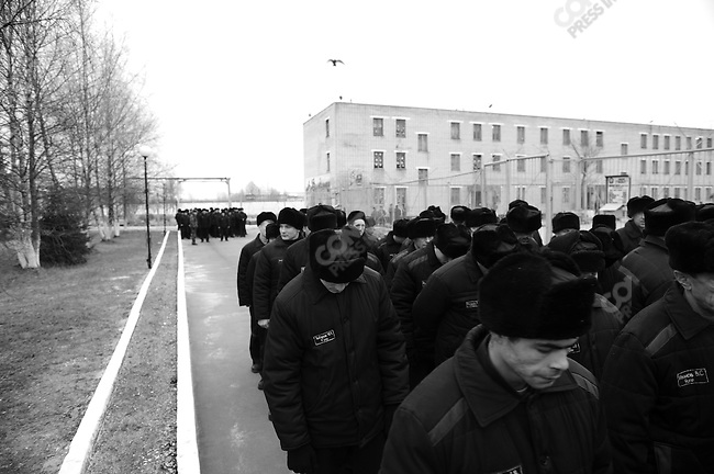 Prisoners formed ranks as they proceeded to the dining hall for lunch. Prison colony #7 outside of Novgorod in the Novgorod region south of St. Petersburg, Russia, December 15, 2008.