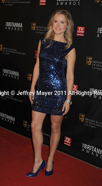 BEVERLY HILLS, CA - NOVEMBER 30: Amelia Jackson-Gray arrives at BAFTA Los Angeles 2011 Britannia Awards at The Beverly Hilton Hotel on November 30, 2011 in Beverly Hills, California.