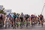 Sprint finish of Stage 1 of the 2018 Tour of Oman running 162.5km from Nizwa to Sultan Qaboos University. 13th February 2018.<br /> Picture: ASO/Muscat Municipality/Kare Dehlie Thorstad | Cyclefile<br /> <br /> <br /> All photos usage must carry mandatory copyright credit (&copy; Cyclefile | ASO/Muscat Municipality/Kare Dehlie Thorstad)