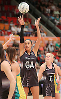 28.01.2017 Silver Ferns Maria Tutaia in action during the Silver Ferns v Australian Diamonds netball test match played at the International Convention Centre studium in Durban, South Africa.<br />  Mandatory Photo Credit ©Reg Caldecott/Michael Bradley Photography.
