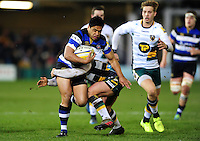 Ben Tapuai of Bath Rugby takes on the Northampton Saints defence. Aviva Premiership match, between Bath Rugby and Northampton Saints on February 10, 2017 at the Recreation Ground in Bath, England. Photo by: Patrick Khachfe / Onside Images