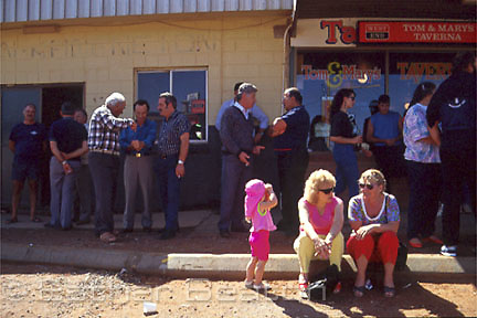 Street scene: various ethnic backgrounds during Opal Festival at Easter. Coober Pedy, South Australia