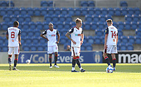 Dejection for Bolton after conceding a second goal<br /> <br /> Photographer Rob Newell/CameraSport<br /> <br /> The EFL Sky Bet League Two - Colchester United v Bolton Wanderers - Saturday 19th September 2020 - Colchester Community Stadium - Colchester<br /> <br /> World Copyright © 2020 CameraSport. All rights reserved. 43 Linden Ave. Countesthorpe. Leicester. England. LE8 5PG - Tel: +44 (0) 116 277 4147 - admin@camerasport.com - www.camerasport.com