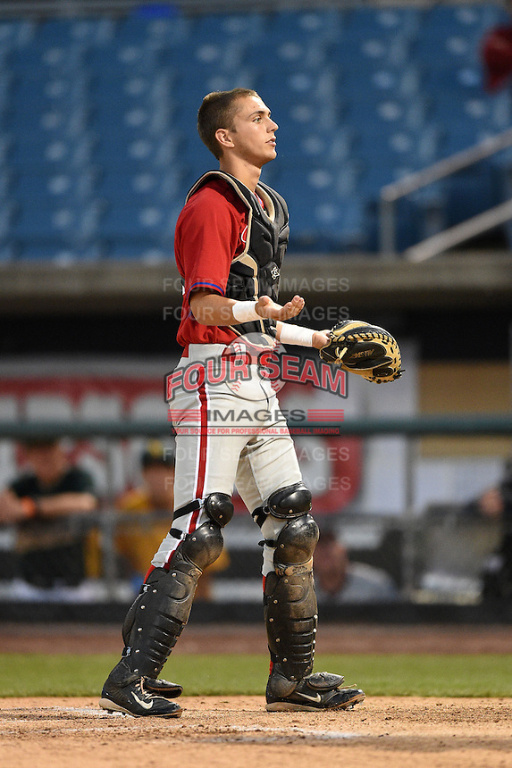 Zac Susi (50) of Southington High School in Southington, Connecticut playing for the Philadelphia Phillies scout team during the East Coast Pro Showcase on July 31, 2014 at NBT Bank Stadium in Syracuse, New York.  (Mike Janes/Four Seam Images)