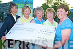 Dorothy Nestor, Lady Captain Beaufort Golf Course, presenting a cheque of EUR1,500 to Josaphine O'Shea, St Francis Special School, Beaufort, from the proceeds of the ladies charity four ball competition at the course on Monday. Also pictured are Sally Cooper, Sheila McCarthy and Renee Clifford...NO FEE..NO FEE...........
