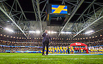 Solna 2015-09-08 Fotboll EM-kval , Sverige - &Ouml;sterrike :  <br /> Vy &ouml;ver Freinds Arena n&auml;r s&aring;ngaren och artisten Tommy K&ouml;rberg sjunger den svenska nationals&aring;ngen inf&ouml;r matchen mellan Sverige och &Ouml;sterrike <br /> (Photo: Kenta J&ouml;nsson) Keywords:  Sweden Sverige Solna Stockholm Friends Arena EM Kval EM-kval UEFA Euro European 2016 Qualifying Group Grupp G &Ouml;sterrike Austria portr&auml;tt portrait inomhus interi&ouml;r interior supporter fans publik supporters