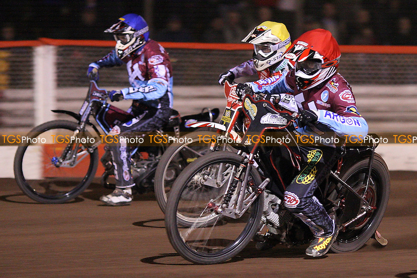 Heat 13: Adam Shields (red), Niels Kristian Iversen (yellow) and Kauko Nieminen (blue) - Lakeside Hammers vs Peterborough Panthers - Sky Sports Elite League Speedway at Arena Essex Raceway, Thurrock - 03/04/09 - MANDATORY CREDIT: Gavin Ellis/TGSPHOTO - Self billing applies where appropriate - 0845 094 6026 - contact@tgsphoto.co.uk - NO UNPAID USE.