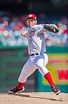 20 September 2015: Washington Nationals starting pitcher Stephen Strasburg on the mound against the Miami Marlins at Nationals Park in Washington, DC. Strasburg struck out 10 in his 10th win of the season as the Nationals defeated the Marlins 13-3 to take the final game of their 4-game series. Mandatory Credit: Ed Wolfstein Photo *** RAW (NEF) Image File Available ***