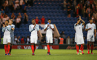 Hat trick hero Marcus Rashford (9) (Manchester United) & teammates applaud the fans following there win during the International EURO U21 QUALIFYING - GROUP 9 match between England U21 and Norway U21 at the Weston Homes Community Stadium, Colchester, England on 6 September 2016. Photo by Andy Rowland / PRiME Media Images.