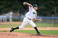 Jamestown Jammers pitcher Montana DuRapau (14) delivers a pitch during a game against the Mahoning Valley Scrappers on June 16, 2014 at Russell Diethrick Park in Jamestown, New York.  Mahoning Valley defeated Jamestown 2-1.  (Mike Janes/Four Seam Images)