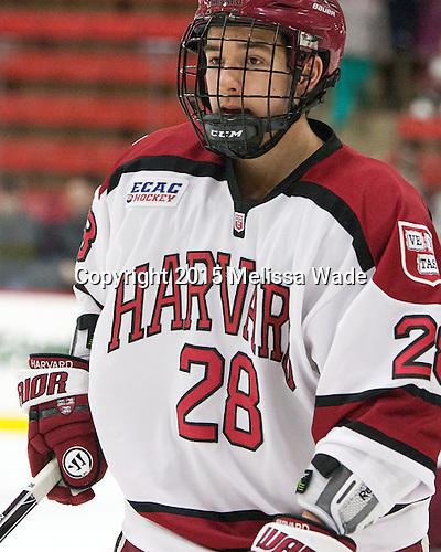 Victor Newell (Harvard - 28) - The Harvard University Crimson defeated the visiting Princeton University Tigers 5-0 on Harvard's senior night on Saturday, February 28, 2015, at Bright-Landry Hockey Center in Boston, Massachusetts.