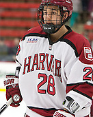 Victor Newell (Harvard - 28) - The Harvard University Crimson defeated the visiting Princeton University Tigers 5-0 on Harvard's senior night on Saturday, February 28, 2015, at Bright-Landry Hockey Center in Boston, Massachusetts.