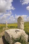 Israel, Southern Coastal Plain, the Monolith Temple on Tel Gezer, the stone basin