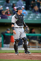Clinton LumberKings catcher Yojhan Quevedo (11) during a game against the South Bend Cubs on May 5, 2017 at Four Winds Field in South Bend, Indiana.  South Bend defeated Clinton 7-6 in nineteen innings.  (Mike Janes/Four Seam Images)