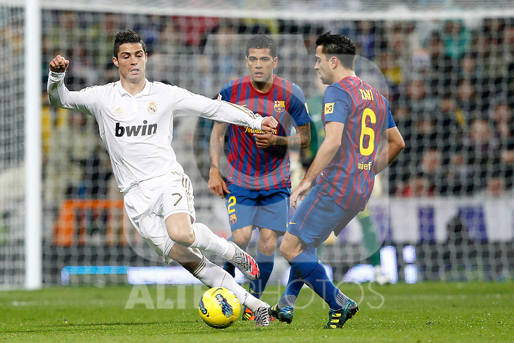 Real Madrid's Cristiano Ronaldo and FC Barcelona's Xavi Hernandez during Spanish  League match on december 10th, 2011..Photo: Alex Cid-Fuentes / ALFAQUI