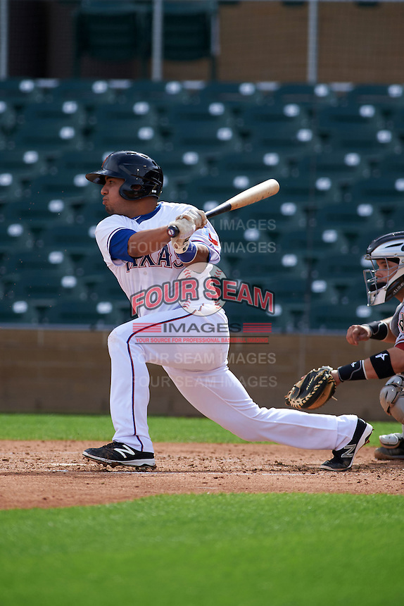 Surprise Saguaros first baseman Jose Trevino (45) at bat during an Arizona Fall League game against the Salt River Rafters on October 20, 2015 at Salt River Fields at Talking Stick in Scottsdale, Arizona.  Surprise defeated Salt River 3-1.  (Mike Janes/Four Seam Images)