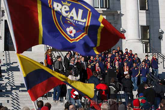 Celebration for Real Salt Lake's MLS Cup win Tuesday, November 24 2009.