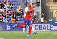 PASTO-COLOMBIA, 01-03-2020:Feiver Mercado del Deportivo Pasto celebra después de anotar un gol de su equipo ,partido entre Deportivo Pasto y La Equidad por la fecha 7 de la Liga BetPlay I 2020 jugado en el estadio La Libertad de la ciudad de Pasto. /Feiver Mecado of Deportivo Pasto celebrates after scoring the  goal of his team during match between Deportivo Pasto and La Equidad for the date 7 as part of BetPlay League I 2020 played at La Libertad stadium in Pasto. / Photo: VizzorImage / Leonardo Castro / Cont.