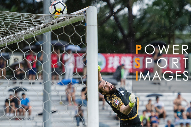 Oleksii Shliakotin of Rangers defends a kick Kwoon Chung Southern attack during the Premier League, week two match between Kwoon Chung Southern and BC Rangers at on September 09, 2017 in Hong Kong, China. Photo by Marcio Rodrigo Machado / Power Sport Images