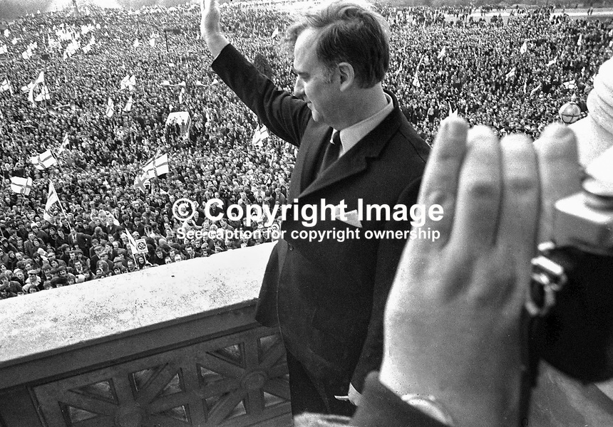 Ulster Vanguard Rally, to protest at the introduction of direct rule by Westminster and the suspension of the N Ireland Parliament, taking place in front of the main Stormont Building. The protesters were addressed by Brian Faulkner and William Craig. NI Troubles. Ref: 19720328004.<br /> <br /> Copyright Image from Victor Patterson,<br /> 54 Dorchester Park, Belfast, UK, BT9 6RJ<br /> <br /> t1: +44 28 90661296<br /> t2: +44 28 90022446<br /> m: +44 7802 353836<br /> <br /> e1: victorpatterson@me.com<br /> e2: victorpatterson@gmail.com<br /> <br /> For my Terms and Conditions of Use go to<br /> www.victorpatterson.com