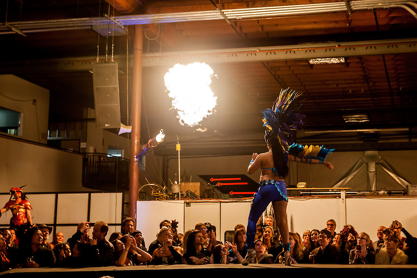 """The Crucible's 15th Annual """"Hot Couture 2014: The Fusion of Fashion & Fire"""" closed on Saturday, January 11, 2014 with Alex Candia's finale. The Crucible is an Oakland, California non-profit art education facility."""