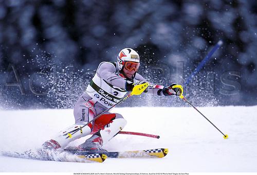 RAINER SCHOENFELDER (AUT), Men's Slalom, World Skiing Championships, St Anton, Austria 010210 Photo:Neil Tingle/Action Plus...2001.winter sport.winter sports.wintersport.wintersports.alpine.ski.skier.man