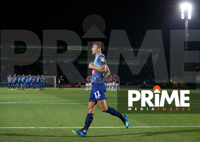 Scott Kashket of Wycombe Wanderers after scoring his penalty during the Carabao Cup match between Wycombe Wanderers and Northampton Town at Adams Park, High Wycombe, England on 14 August 2018. Photo by Andy Rowland.