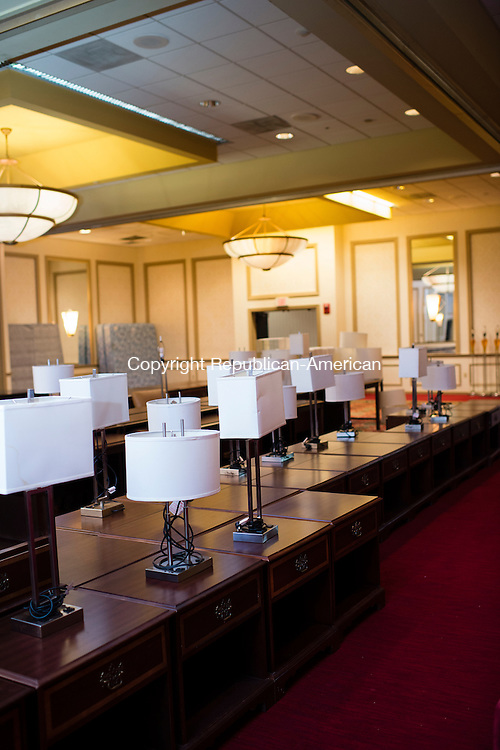 WATERBURY, CT- 27 May 2016-052716EC03-  Hundreds of lamps and dressers line the ballroom of the CoCo Key Water Resort Hotel and Convention Center in Waterbury. All of the items inside will be liquidated. Erin Covey Republican-American