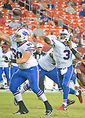 Buffalo Bills quarterback EJ Manuel (3) passes during fourth quarter action during a pre-season game against the Washington Redskins at FedEx Field in Landover, Maryland on Friday, August 26, 2016.  Blocking for Manuel is Bills offensive guard Jamison Lalk (60). The Redskins won the game 21 - 16.<br />