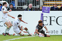 Anthony Watson of Bath Rugby scores a try in the corner. European Rugby Challenge Cup match, between Bath Rugby and Pau (Section Paloise) on January 21, 2017 at the Recreation Ground in Bath, England. Photo by: Patrick Khachfe / Onside Images