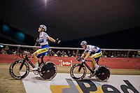 Kenny De Ketele (BEL/SportVlaanderen-Baloise) asking for some crowd support for Robbe Ghys' (BEL/SportVlaanderen-Baloise) sprint lap<br /> <br /> Lotto 6daagse Vlaanderen-Gent 2018 / Gent6<br /> day 5